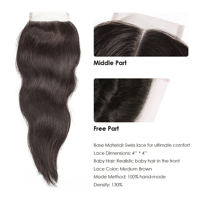 CEXXY Natural Straight Hair Bundles With Closure Raw Indian Virgin  Hair Weave Bundles with Closure Free Part Free Shipping