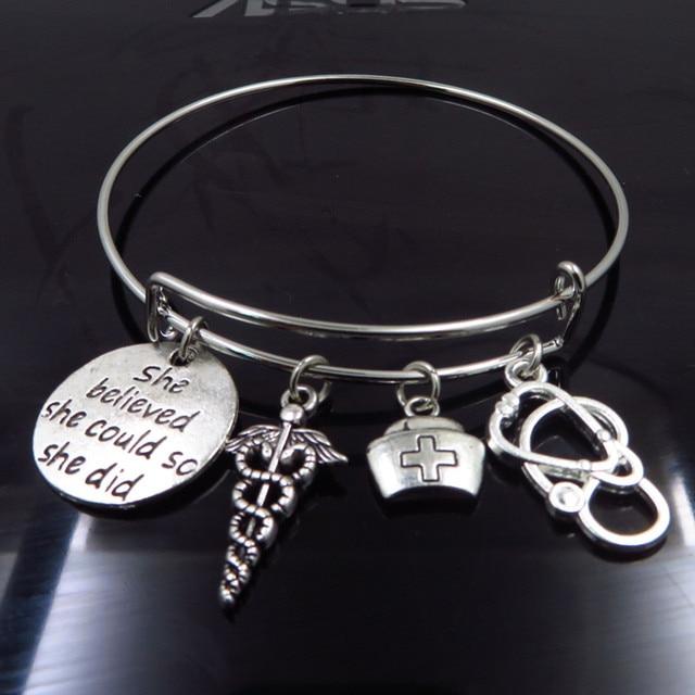 infinity Expandable Wire Bangle Nurse Graduation Jewelry Gift Idea Caduceus Cap Stethoscope Charms DIY Girls Bracelets