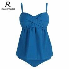 Raintropical, набор танкини размера плюс, сексуальная женская одежда для плавания, женский купальник, Одноцветный летний купальник, пляжная одежда, купальные костюмы