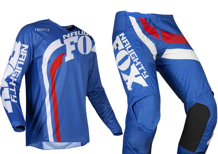 Free Shipping 2019 NAUGHTY FOX MX 180 Cota Blue Jersey Pant Combo Motocross Racing Racewear Dirt