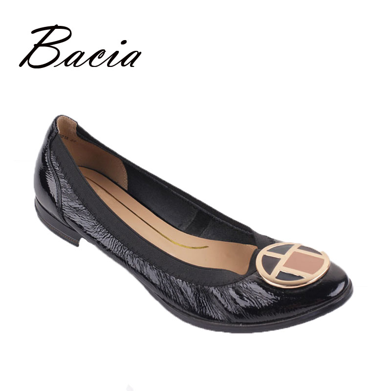 Bacia Super Comfort Flats Round Toe Low heel Genuine Leather Spring Summer Women Shoes Ladies Soft
