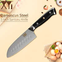 XYj Kitchen Cooking Damascus Steel Knife 7''Chef 6.5'' Santoku 5'' Santoku Knife Meat Fish Fruit Cooking Tools Kitchen Gadgets