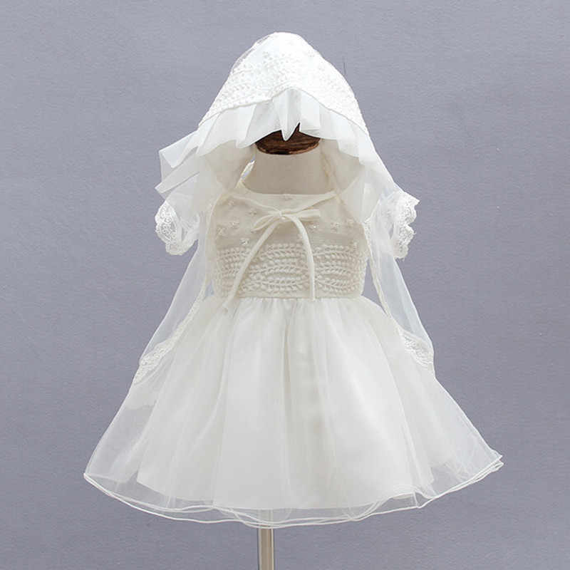 0-18M 3pcs Baby Girl Baptism Dresses Solid Sleevless Vestido Thin Coat Hat Baby Girl Clothes For 1 Year Birthday Party SKF154709