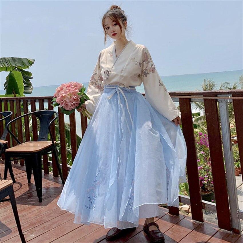 Fashion Woman Japanese Kimono Dress Summer Kawaii Fairy Floral Long Sleeve Top Mesh Skirt Yukata Orintal Retro Party Photography