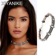 XIYANIK Vintage Boho Maxi Statement Necklaces Retro Exaggerated Mental Carved Choker Necklace Short Collier Bohemian Bijoux N285