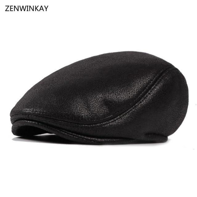2017 moda Otoño hombre caliente de cuero negro gorra de boina de papá sombreros  para hombres 188612f3006