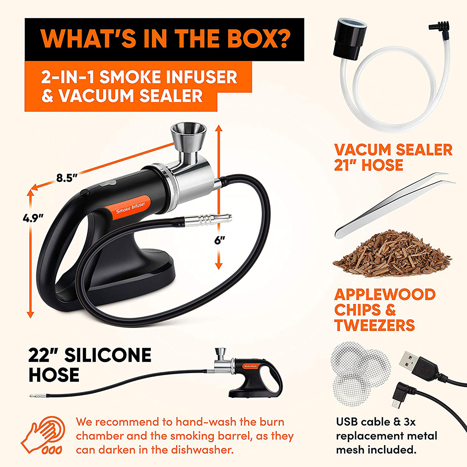 Image 5 - Portable Handheld Cold Smoking Gun with Vacuum Sealer Electric Food Drink Cocktail Smoker Woodchips Smoke Infuser Machine S268-in Vacuum Food Sealers from Home Appliances
