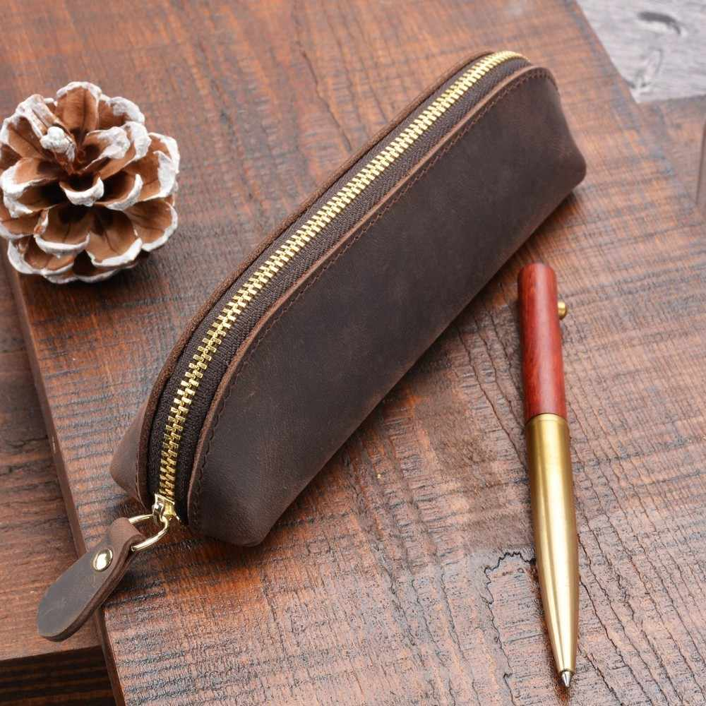 Handnote Zipper Pen Pencil Bag Storage Pouch Handmade 100% Genuine Leather Vintage Retro Creative School Stationary Accessories