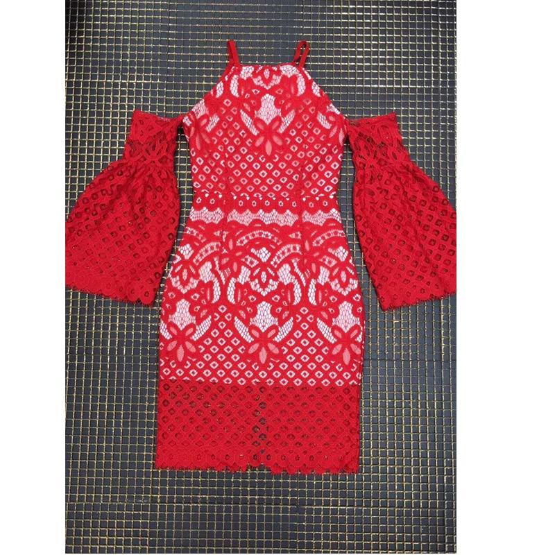 D'été Fshion Chic Dos Nu Élégant Robe Parti Manches Soirée 2018 Femmes Moulante Bandag Date Robes Dentelle Rouge Longues 5gqxXYw