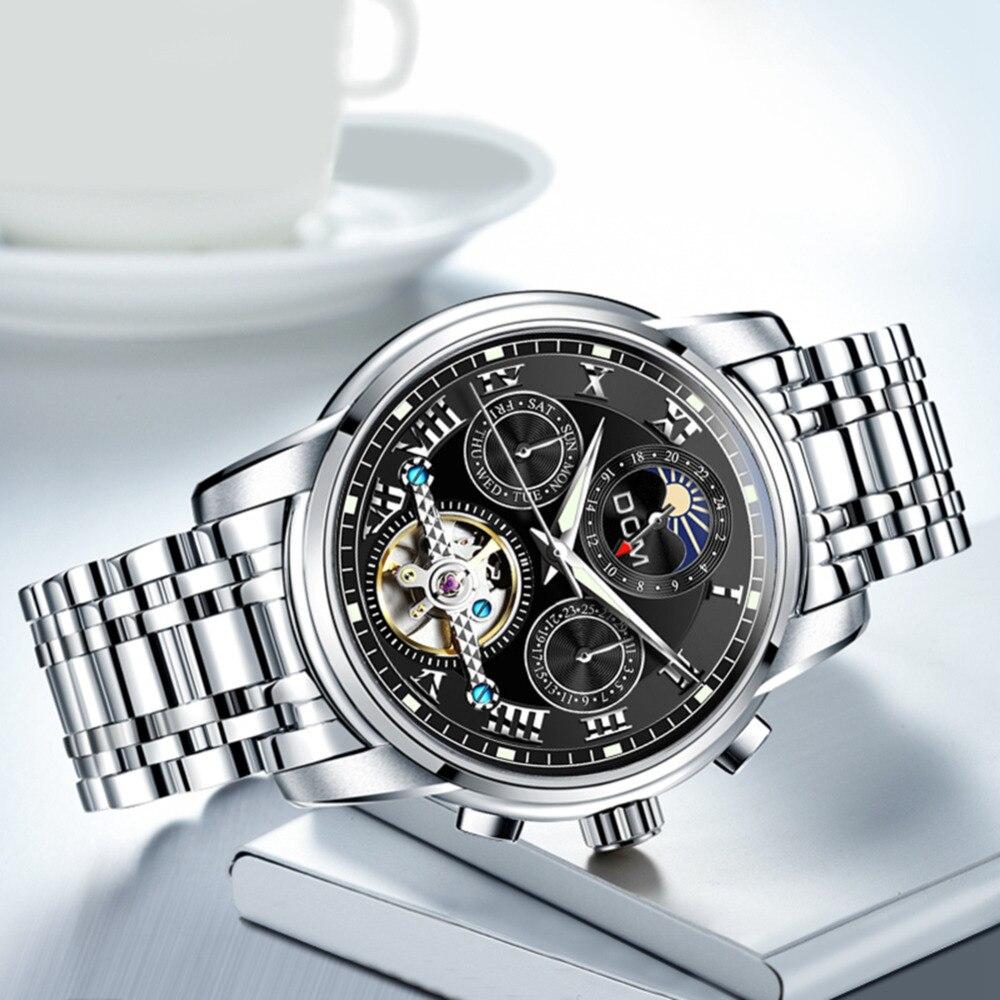 DOM nowy japonii mechaniczny zegarek zegarki na rękę automatyczny męski zegarek Top marka luksusowe dorywczo skóry wodoodporny zegarek mężczyźni M 75D 1MH w Zegarki mechaniczne od Zegarki na  Grupa 3