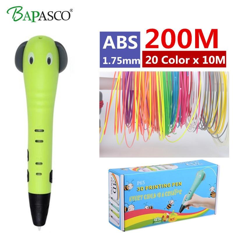BAPASCO P65 3D Pen Add 200M(20Color) ABS Filament 3D Drawing Pen EU/US/AU/UK Best intelligent Gift For Kid Printing Pen 3D Model p65 5 откр