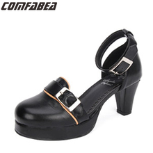 Janpanese Style Spring Summer Autumn Women Anime Punk Shoes Lolita Pumps Middle Heel Lolita Shoes Buckle Shoes Plus Size 34~44