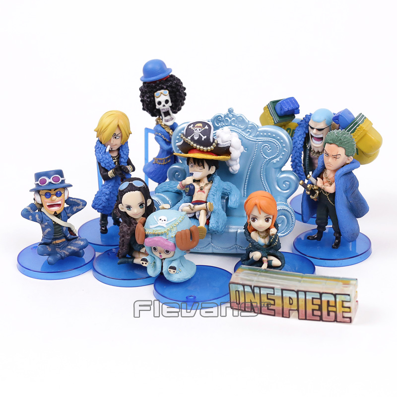 Anime One Piece 20th Anniversary Luffy Zoro Sanji Robin Nami Chopper Usopp Brook Franky Q Version PVC Figures Toys 10pcs/set барабан к галтовке robin 20