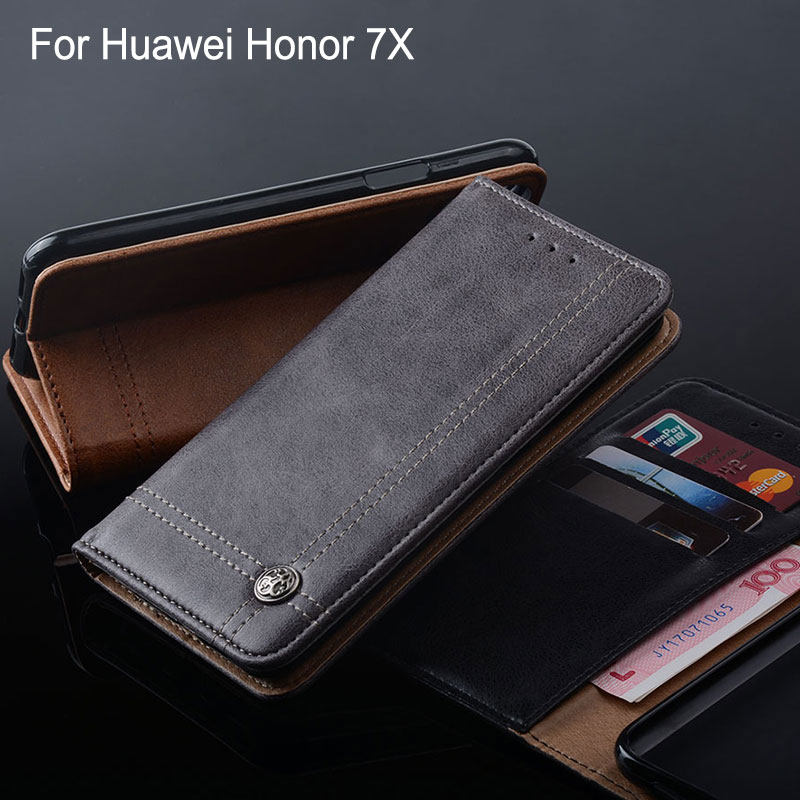 for huawei honor 7x case Luxury Leather Flip cover with Stand Card Slot Vintage Cases for huawei honor 7X funda Without magnets