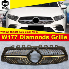 For Mercedes A Class W177 Diamond Style Grill grill Sport Without Camera ABS gloss black Front Bumper grills Sign 2019+