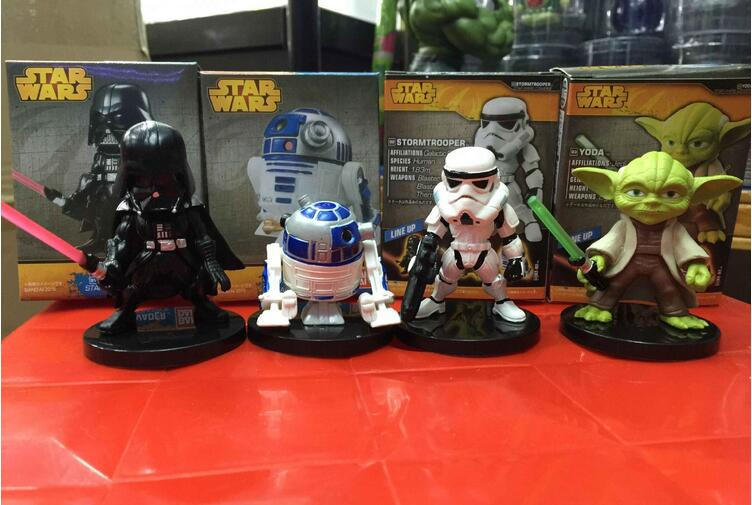 4pcs//Set Star Wars Darth Vader Yoda R2-D2 Stormtrooper Figure Figurine Toy Model
