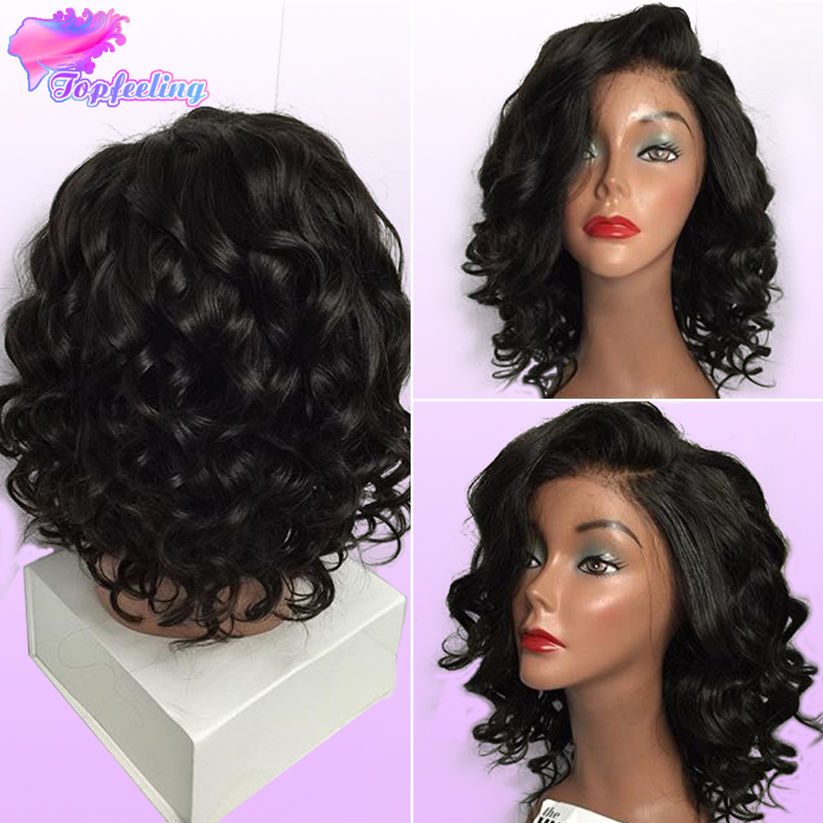 Full Lace Brazilian Bob Wigs Glueless Virgin Human Hair