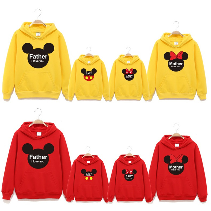 Spring Autumn Family Matching Clothes Big To 3Xl Cotton Hooded Fleece Mother And Daughter Clothes Family Look Sweater Hoodies