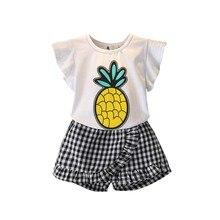 Mode-Sommer-kleine Mädchen-nette Karikatur-Druck-T-Shirt + Checkered Culottes zwei Stücke stellten bequem für das Kleiden ein