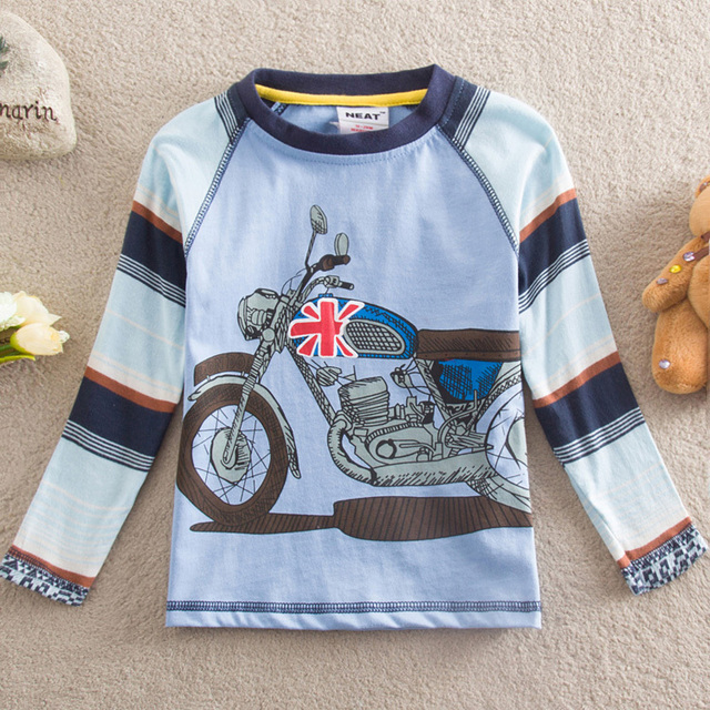 NEAT 2016 New free shipping children t shirts baby boy clothes long sleeve T-shirt embroidery printing  kids wear 1-6Y L866#