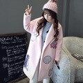 Женщины Зимняя Мода Розовый Пальто WindbreakerWomens вышивка патч дизайн длинный Жакет