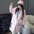 Women Winter Fashion Pink Coat WindbreakerWomens embroidery patch designs long Jacket