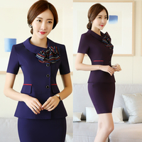 Short Sleeve Professional Suit Female Spring And Summer Temperament Slim Hotel Catering Front Desk Uniforms Two