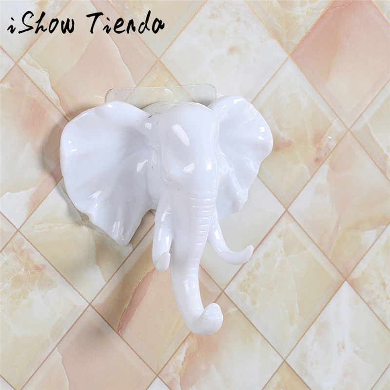 Cabeça de elefante Forte Auto Adesivo de Parede Porta Toalha Mop Titular Da Bolsa Ganchos Cabides Para Pendurar Acessórios Do Banheiro Da Cozinha