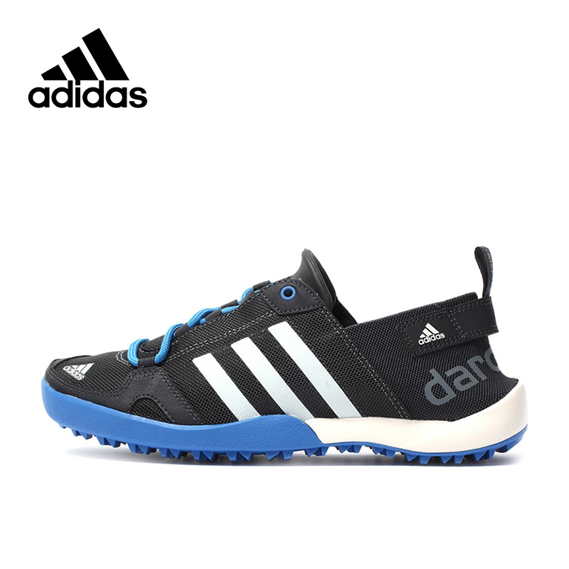 Official Men Blue Adidas Men's Hiking Shoes Outdoor Lace-up Rubber Summer Breathable Sports Sneakers blue lace up