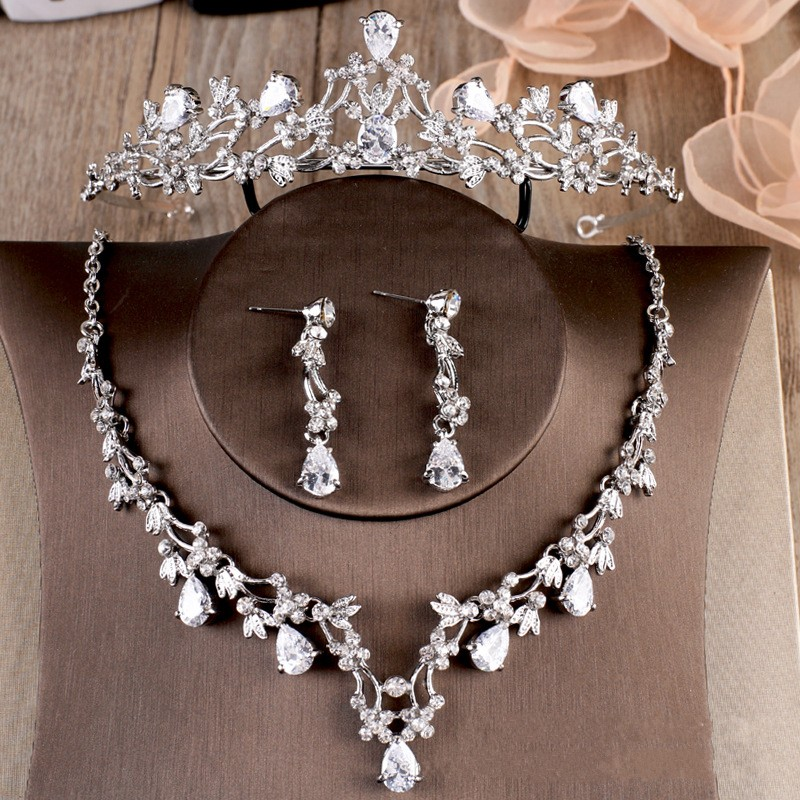 Luxury Sparking Cubic Zircon Crown Tiaras Necklace Earrings Set Rhinestone Bridal Jewelry Sets Wedding Hair Dress Accessories