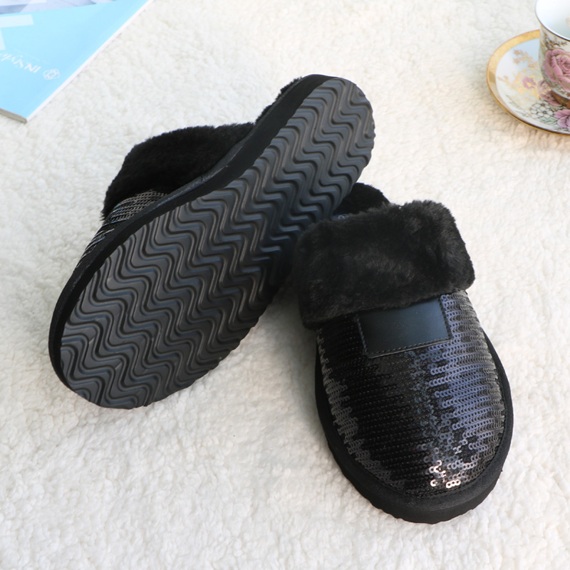 1e00e0c1b New Winter Black Sequined Women Slippers Fur Warm Plush Female Slides  Indoor EVA Flat Slides Home Flip Winter Shoes For Women-in Slippers from  Shoes on ...