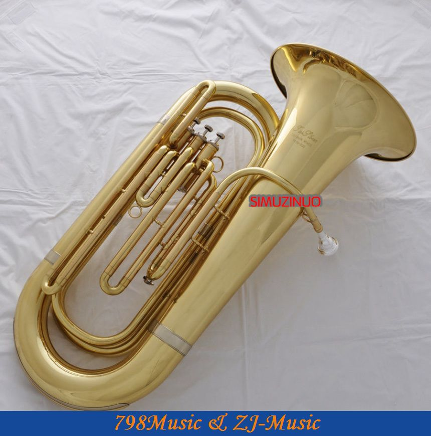 Professional Gold Tuba Horn Bb Keys Monel Valves 2 Mouthpiece With Case