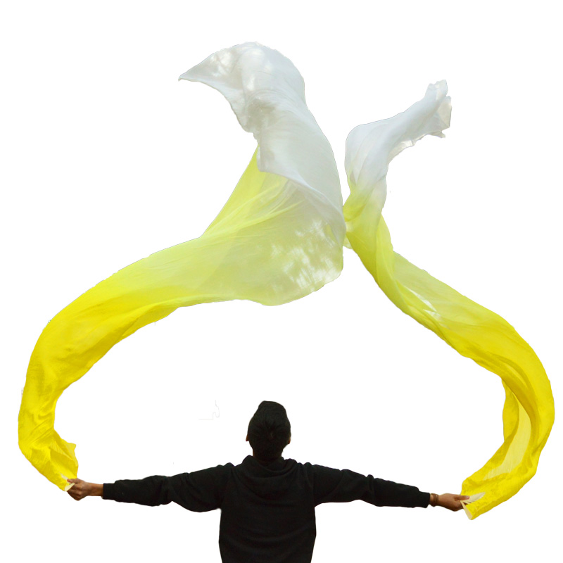 2018 hot selling 100% Real Silk Veils 1 Pair handmade women Quality Silk Belly Dance Fan Dance yellow +light yellow +white