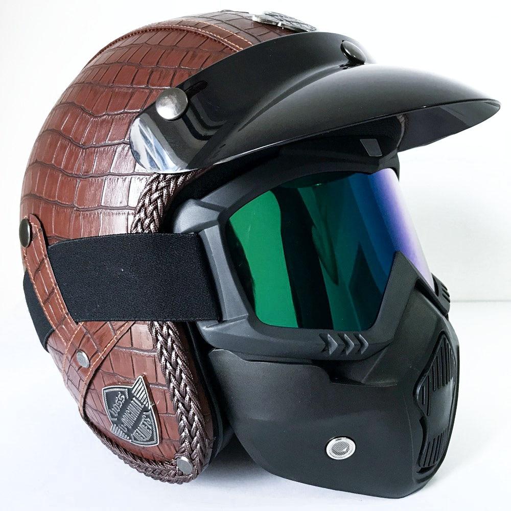 Vintage casque intégral pour Moto Moto rétro Motocross casques Moto Scooter masque accessoires Harley Yamaha Honda etc.