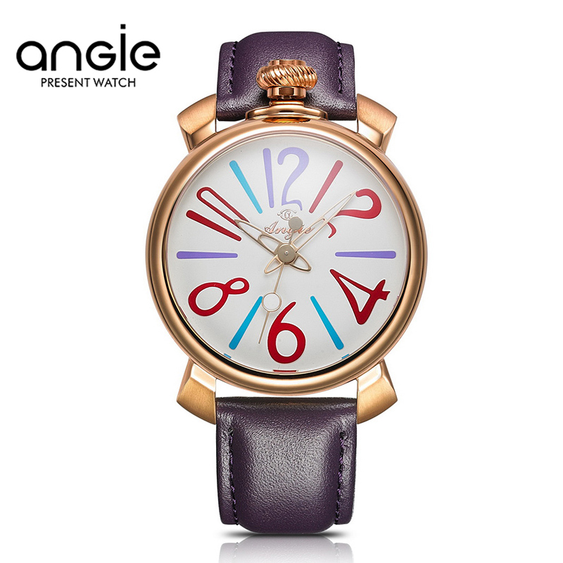 ФОТО ANGIE Brand Leather Strap Watches Women Dress Watch Relogio Ladies Wristwatches Clocks Designer Ladies Gift Quartz Watch Reloj