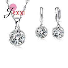 Crystal Jewelry Wedding-Party Earrings-Set Necklace Pendant 925-Sterling-Silver Women