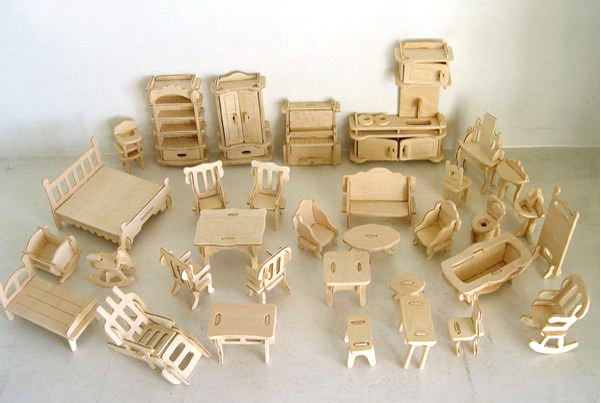 Wooden 3d jigsaw puzzle diy scale miniature models Scale model furniture