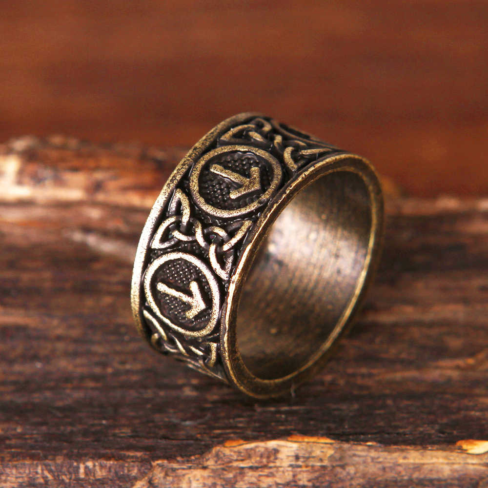 Nórdico futhark rune anel pagão viking jóias masculinas 1