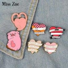 f4db94b01fe Cute Funny Pink heart pig enamel pin badge brooch Lapel pin for Denim Jean  shirt bag Custom Cartoon Jewelry Gift for women girls