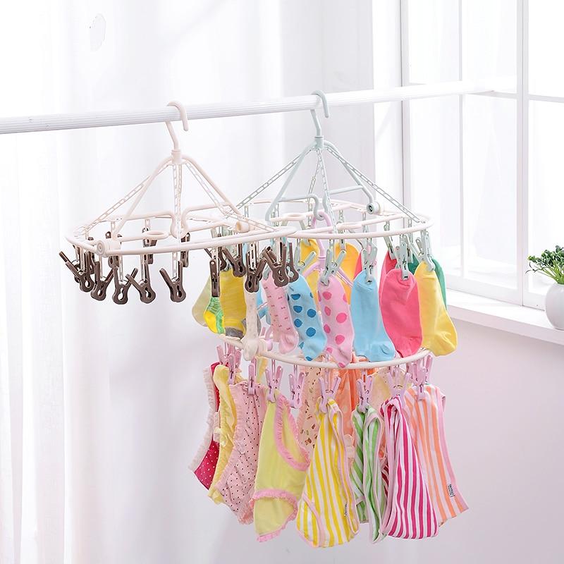 16 κλιπ Μακρύ ρούχα πολυλειτουργικό αδιάβροχο αγκίστρι καλώδιο κλειδαριές πλαστική κρεμάστρα 18 κλεψύδρες εσώρουχα ρούχα κάλτσες