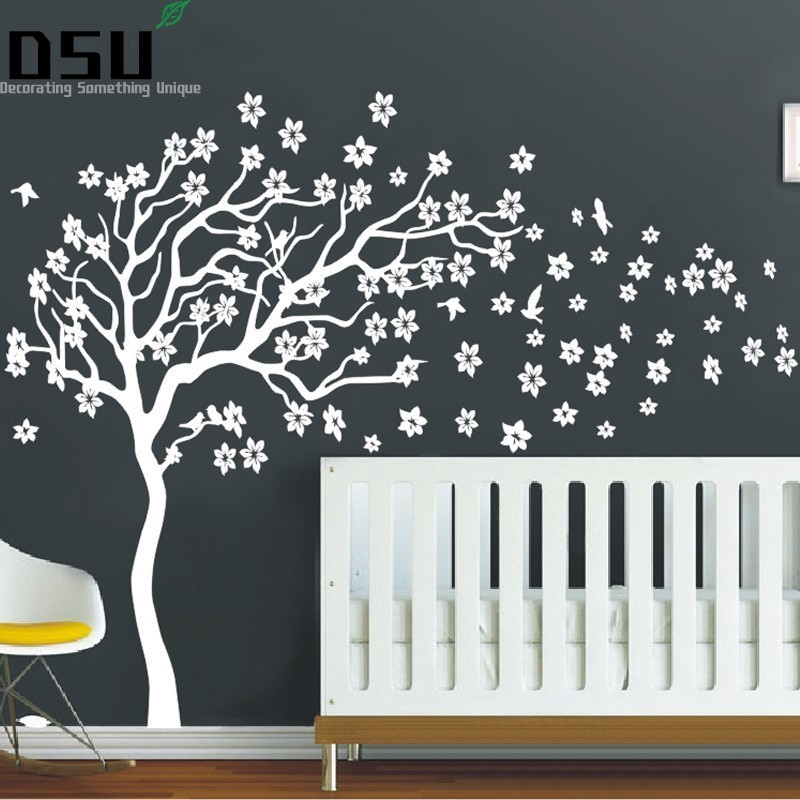 Huge White Tree Flowers 3D Vinyl Wall Decal Nursery Tree and Birds Wall Art Baby Kids Room Wall Decor Wall Stickers Wallpaper pure green mountain art wallpaper mural on the wall for kid s room wallpaper nursery room wall decor free shipping