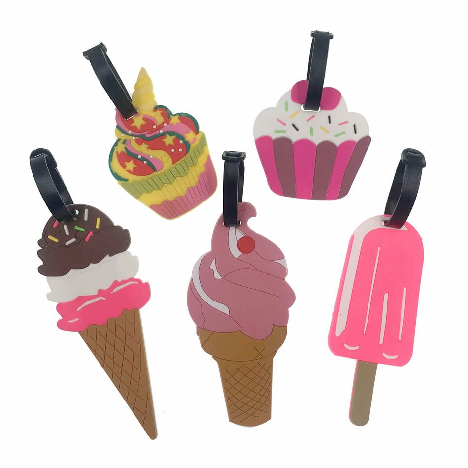 Милый творческий десертов Чемодан бирку дорожные аксессуары силикагель чемодан Id адрес Организатор багажа чашку Label