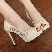 Lace Flower Pumps Women Extreme High Heels Nightclub Woman Bridal Shoes Hollow Platform Sexy Open Mouth