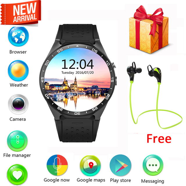 KingWear KW88 smart watch Android 5.1 OS 1.39 inch Amoled Screen 3G wifi Smartwatch Phone MTK6580 GPS Gravity Sensor Pedometer