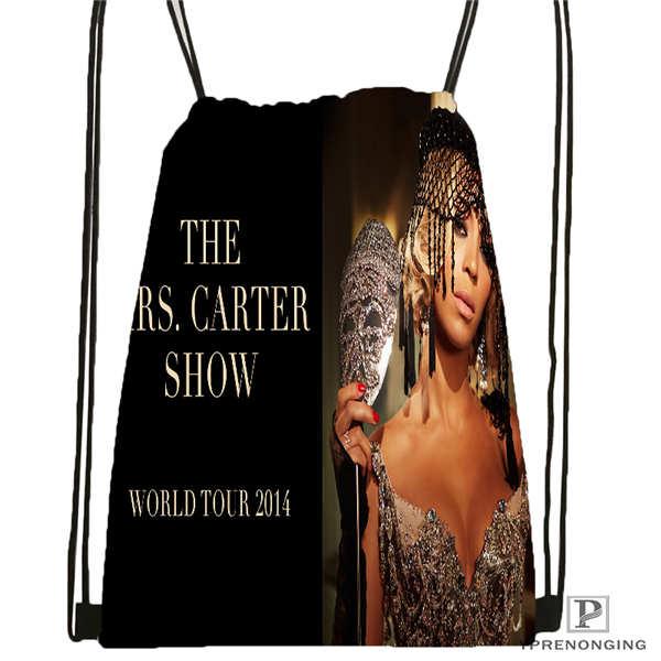 Custom HT Beyonce Jay Z Mona Drawstring Backpack Bag Cute Daypack Kids Satchel (Black Back) 31x40cm#2018612-01-32