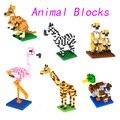 2016 Мини Блоки DIY Творческие Кирпичи Игрушки Мини Модель Игрушки Красочные Животный Мир Блоки для Детей