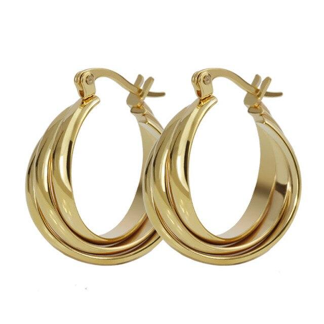 23a190a1d233 3 Líneas de Fila Círculo Pendientes Del Aro Para Las Mujeres de Oro de  color de ...