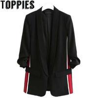 Toppies Women 2019 Spring Side Stripe Black Blazer Women Causal Loose Blazer Jackets Office Working Blazers
