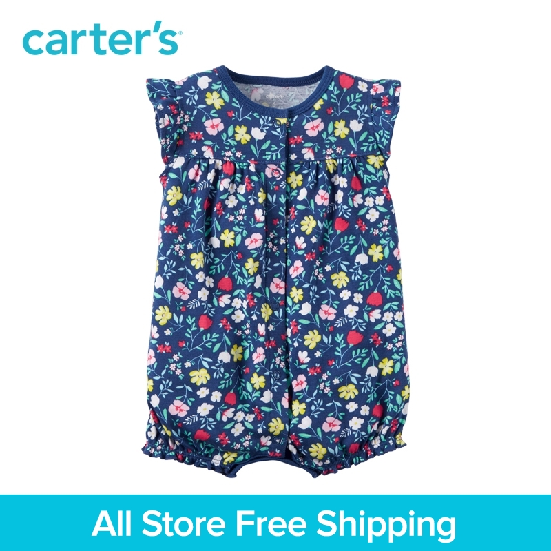 Carter's 1pcs baby children spring summer girl clothing kids Allover floral print Snap-Up Cotton Romper 118H298 allover leopard print maxi kimono