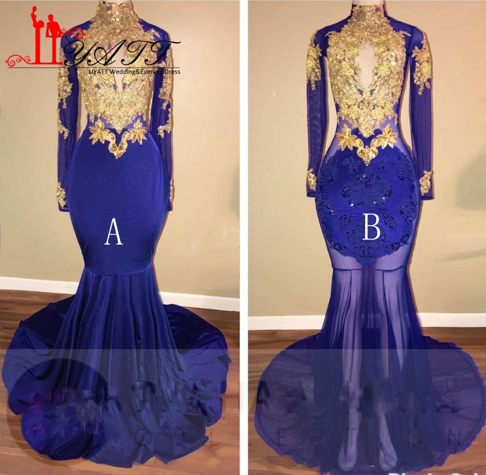 The dress gold blue - Mermaid Evening Dresses Royal Blue Gold Appliques Velvet Prom Dress 2017 Sheer Long Sleeve Keyhole Prom